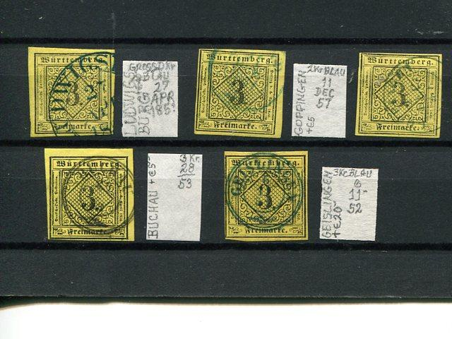 Wuerttemberg #2  selection of cancels   VF