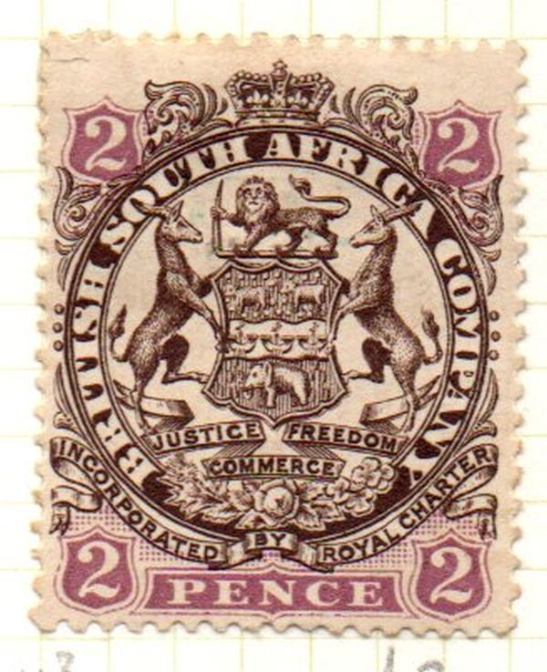 Rhodesia Sc 28 1896 2d brown & rose lilac Arms stamp mint