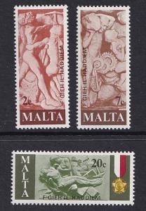 Malta   #541-543  1977  MNH  tribute to Maltese workers