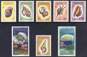 Comoro Is 1962 50c-500fr Shells & Coral, Scott 48-53 & C5-C6  UMM/MNH Cat $84