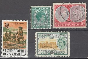 COLLECTION LOT OF #1013 ST KITTS NEVIS 4 STAMPS 1938+