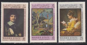 Aden - Mahra State M # 48A-56A, Famous Paintings, Mint NH