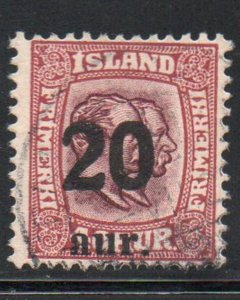 Iceland  Sc 135 1921 20 aur overprint on 40 aur 20 aur 2 Kings stamp used