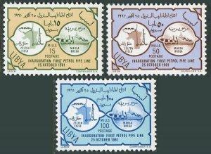 Libya 209-211, lightly hinged. 1st Oil pipe line in Libya,1961. Map, Tanker.
