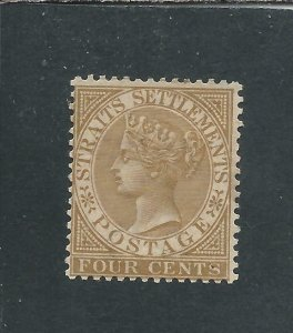 STRAITS SETTLEMENTS 1883-91 4c PALE BROWN MM SG 64 CAT £55