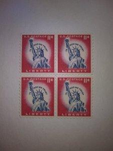 SCOTT # 1044A 11 CENT LIBERTY BLOCK OF 4 GEM
