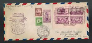 1936 New York USA Hindenburg LZ 129 Zeppelin First FLight cover to Germany SS