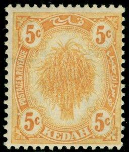 MALAYSIA - Kedah SG55, 5c yellow, LH MINT.