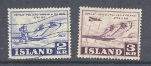 Iceland Sc 271-2 1951 175th anniv Post Service stamp set ...