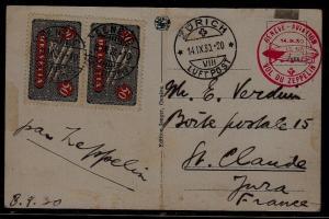 Switzerland Zeppelin card folded 14.9.30 Geneve,Zurich