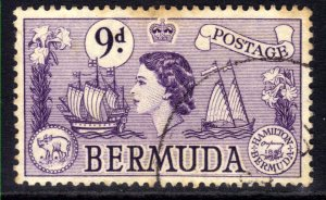 Bermuda 1953 - 62 QE2 9d Violet Sea Venture Used SG 143b ( J97 )