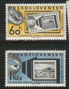 Czechoslovakia Scott 988-989 MH* stamp on stamp set