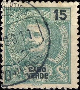 CAP VERT / CABO VERDE - 1911  SÃO JOÃO BAPTISTA  cds on Mi.77 15R blue-green