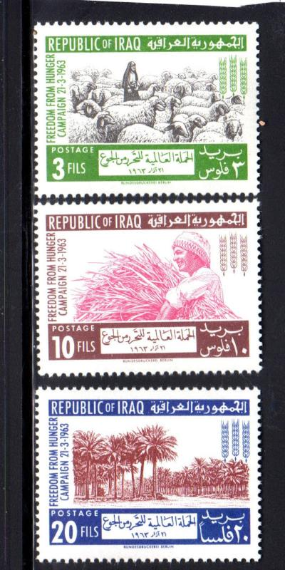 IRAQ #333-335  1963  FREEDOM FROM HUNGER  MINT VF NH  O.G