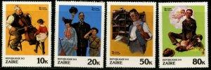 ZAIRE Sc#1005-12 1981 Norman Rockwell Art Complete Set OG Mint NH