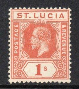 St Lucia 1912 KGV 1/- orange-brown wmk MCCA SG 86 mint