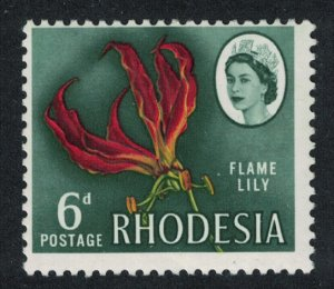 Rhodesia Flame Lily 6d Typo Printing perf 13?*13 Small Portrait SG#378