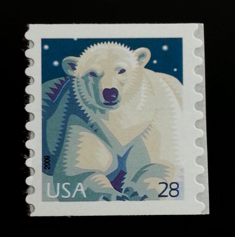2009 28c Wildlife, Polar Bear, Coil Scott 4389 Mint F/VF NH