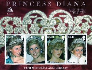 Montserrat 10th.Memorial Princess Diana Shlt(4)MNH Sc # 1189