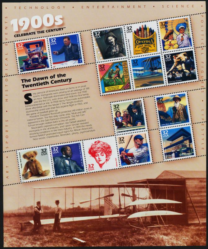 USA 3182 MNH 1900's - Dawn of the 20th Century, Famous People, Aircraft, Sport