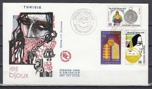 Tunisia, Scott cat. 798-800. Traditional Jewelry issue. First Day Cover.