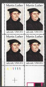 US#2065 -$0.20 Martin Luther Plate block of 4 (MNH) CV $2.00