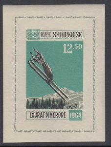 Albania 709A Winter Olympics Imperf Footnoted Souvenir Sheet MNH VF