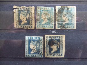 India QV 1854 1/2A blue Die I SG2 x3, Die II SG4a & Die III SG8a