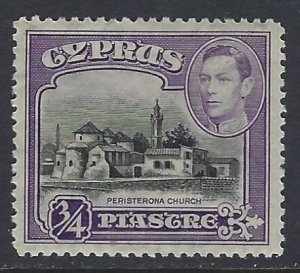 Cyprus, Scott #145; 3/4pi King George VI, MH