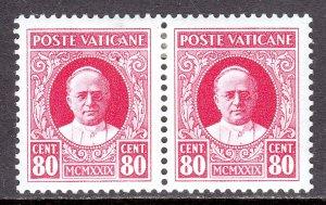 Vatican City - Scott #8 - Pair - MH - Gum wrinkle right stamp - SCV $3.00