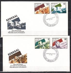 Senegal, Scott cat. 943-946. Louis Armstrong issue. 2 First day covers.