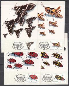 Australia, Scott cat. 1211-1214. Hawk Moth & Insects issue as 4 Maximum Cards.