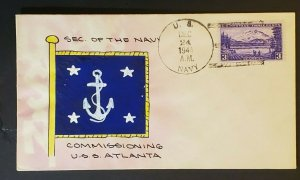 1941 USS Submarine Atlanta Later Sunk by Japanese Hand Drawn US Naval Cover