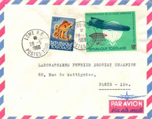 Togo 20F Octopus and 10F Inauguration of Air Togo 1966 Lome R.P. Postes-Togo ...