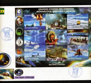 Sao Tome & Principe 2006 SPACE 21th.Century Sheet Imperforated in official FDC