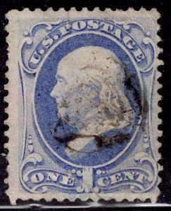 H GRILL US Stamp #134 1c  Franklin USED w/ fault SCV $200. Nice appearance.