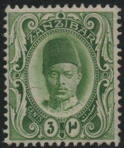 ZANZIBAR-1908-09 3c Yellow-Green Sg 226 MOUNTED MINT V39113
