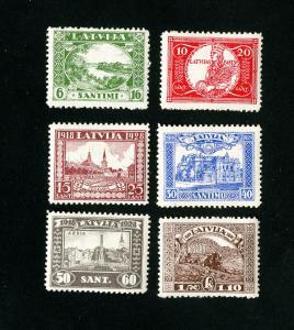 Latvia Stamps # B34-9 XF OG NH set of 6 Scott Value $40.00