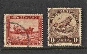 STAMP STATION PERTH New Zealand #193-194 FU Wmk.61 CV$38.00