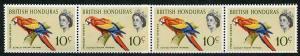 British Honduras SG207 10c Bird Coil Join in a U/M Strip of 4