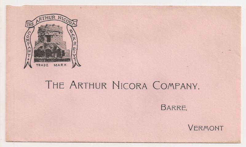The Arthur Nicora Company Monument Maker unused envelope BARRE VT Vermont