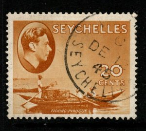 SEYCHELLES SG140ab 1941 20c BROWN-OCHRE HANDKERCHIEF FLAW USED SHORT PERF