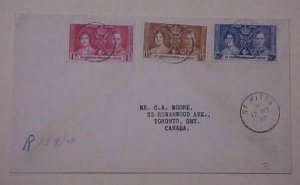 ST. KITTS REGISTERED  FDC  CORONATION  KING GEOGE VI   MAY 12,1937