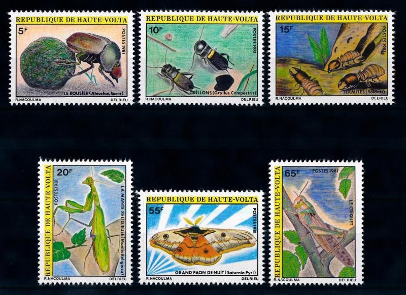 [65617] Burkina Faso Upper Volta 1981 Insects Termites Butterfly  MLH