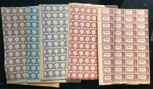 India #161a #171 - #179 (SG #273 - #277) Very Fine Never Hinged Sheets Of 320