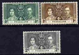 Nyasaland 1937 KG6 Coronatio set of 3 perforated SPECIMEN...