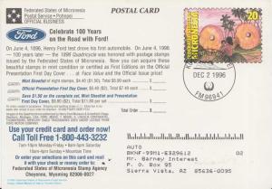 Caroline Islands Micronesia 20c Stone Money of Yap Postal Card 1996 Kolonia P...