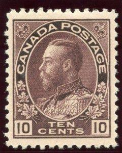 Canada 1911 KGV 10c reddish purple MLH. SG 211.