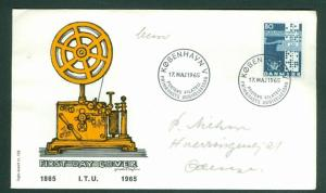 Denmark. FDC Cachet 1965. Telecom. Union  80 Ore Fluorescent. Engr: Slania.