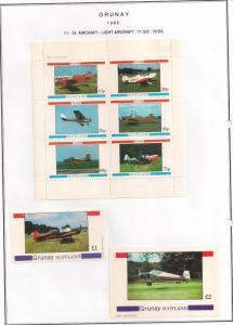 SCOTLAND - GRUNAY - 1982 - Light A'craft #2-Perf 6v,Souv & D/L Sheets - MLH